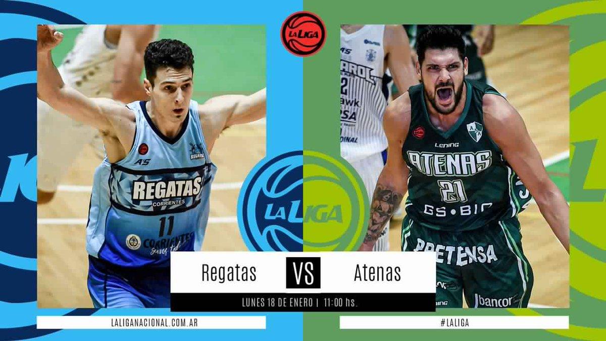 #LigaNacional   ⏰ 11hs  ⛹🏼♂️ @ClubRegatasCtes vs @Atenas_oficial  📍 Obras   📲 En vivo por La Liga Contenidos   La previa 👉