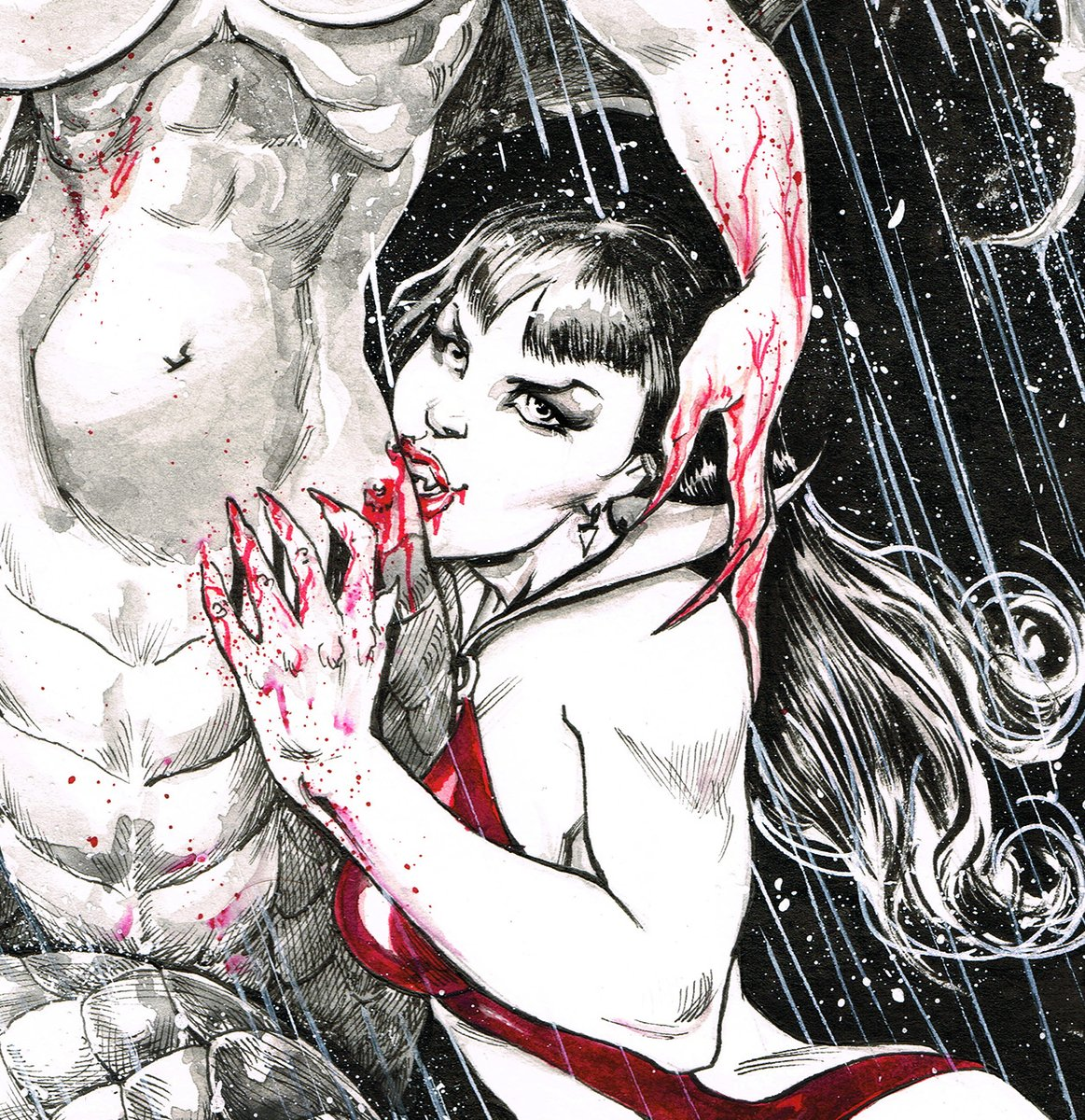 Vampirella, watercolor. #vampirella #watercolorart #vampirellacomics #comics #illustration #eroticart #doodle #sketch #sketches #art #artontwitter #ArtOfTheDay