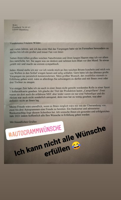 Glaube dafür bin ich jetzt zu alt 😂 #fan #autogramm #autogrammwünsche #fanbrief https://t.co/nRkLdy1