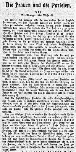 """#OnThisDay erscheint der folgende Artikel in der """"Vossischen Zeitung"""".  Verfasst von Dr. Margarethe Meseritz. Darin wirbt sie für die Wahl der DDP."""