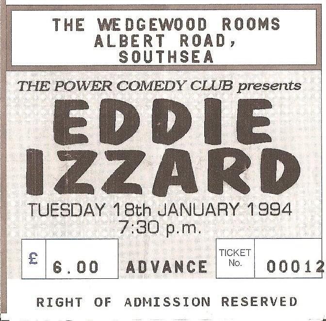 #onthisday 18/01/1994 @eddieizzard at @WedgewoodRooms #Southsea #eddieizzard