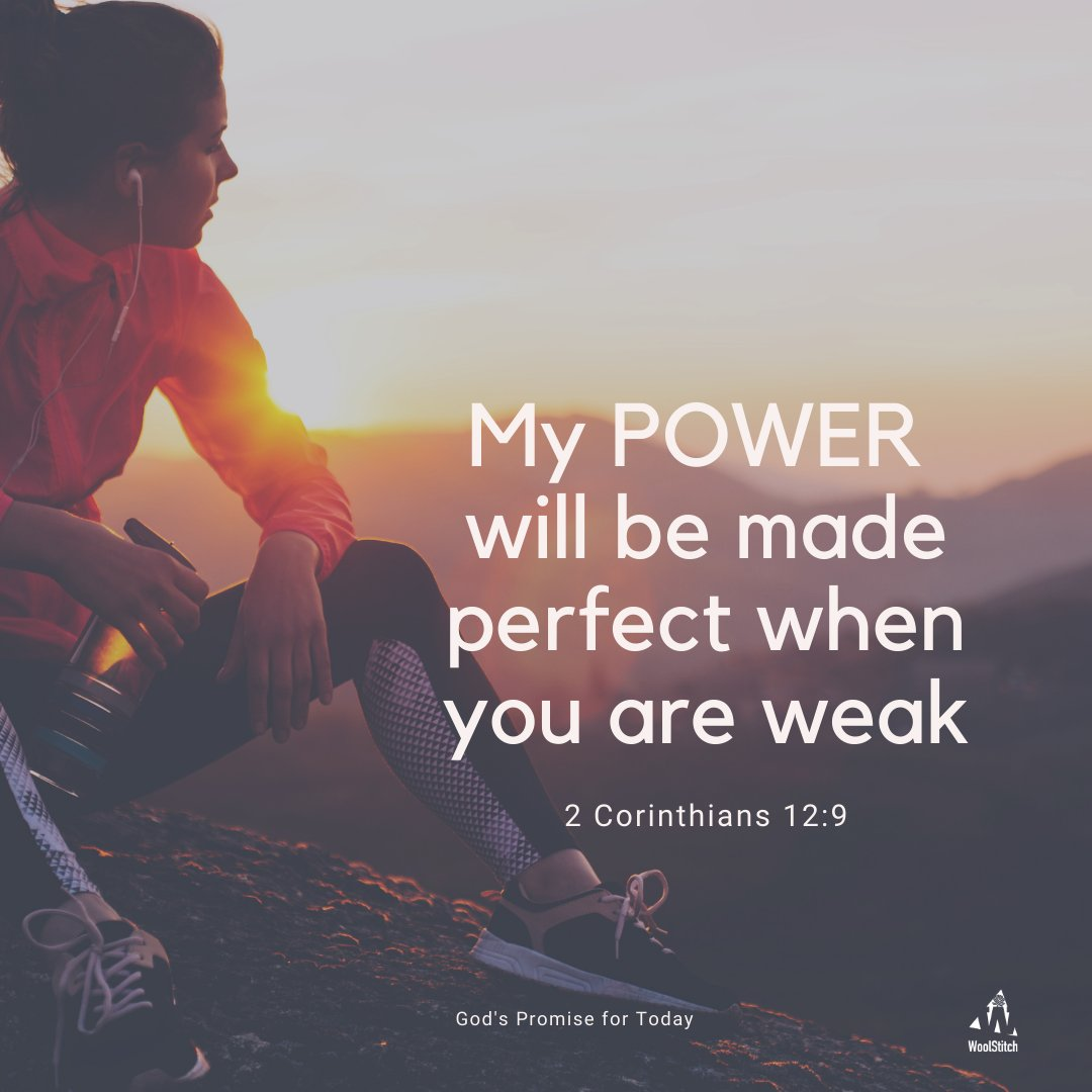 #TodaysPromise    No matter how you're feeling today, know that God's grace is sufficient for you. His power is made perfect in weakness. #2Corinthians12v9  Embrace His kingdom when you feel empty. His Power will rest on you  #HisPromise #dailyPromises #WoolStitch #dvo #devotion