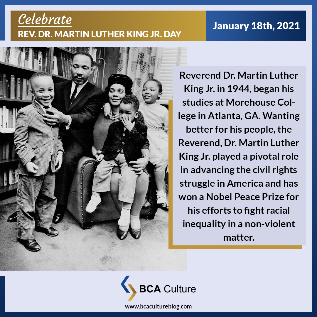 """Today #BCACulture Celebrates Rev. Dr. Martin Luther King Jr. Day! A man of #Faith #Leadership and #Devotion to his people.  🤞 #HappyRevDrMLKJrDay from BCA Culture. COMMENT BELOW """"OUR DREAMS MATTER"""" 👇"""
