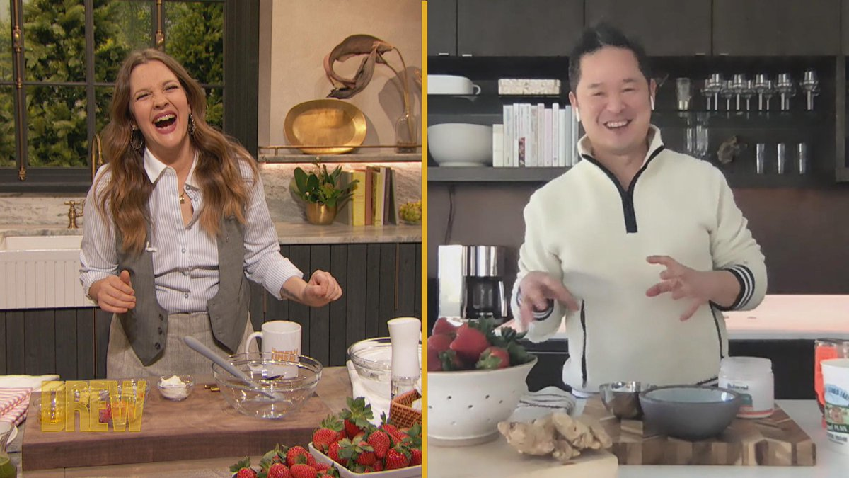 .@DannySeoMag shows Drew how to whip up an eco-friendly face mask using leftover strawberries 🍓