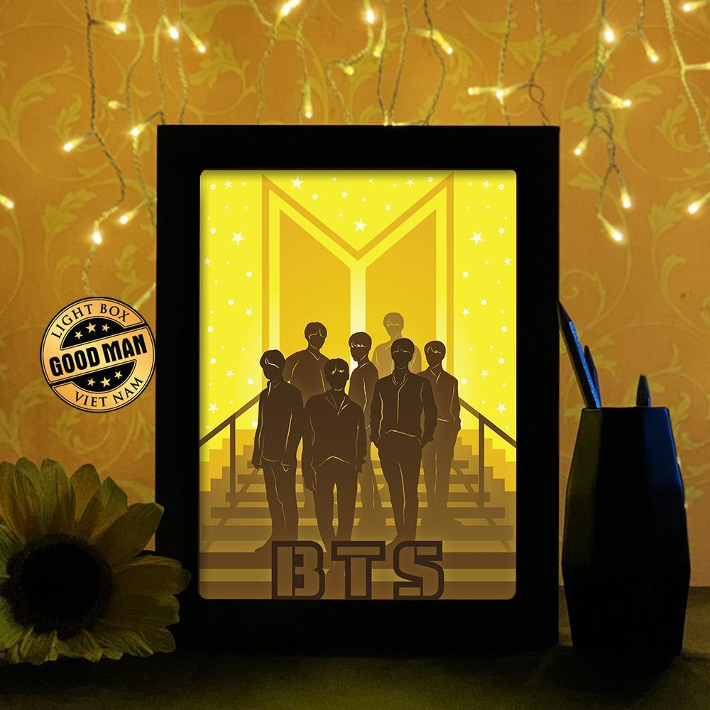 BTS BAND 1 - 3D Paper Cutting Light Box    Goodman  $48  #Goodman #BTS #BAND #all #Boyband