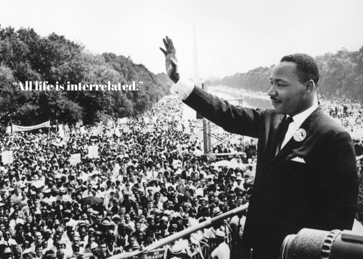 """""""... all life is interrelated. We are all caught in an inescapable network of mutuality, tied into a single garment of destiny. Whatever affects one directly, affects all indirectly.."""" – Dr. Martin Luther King Jr., Christmas Eve Sermon, 1967. #MLKDay #EnvironmentalJustice"""