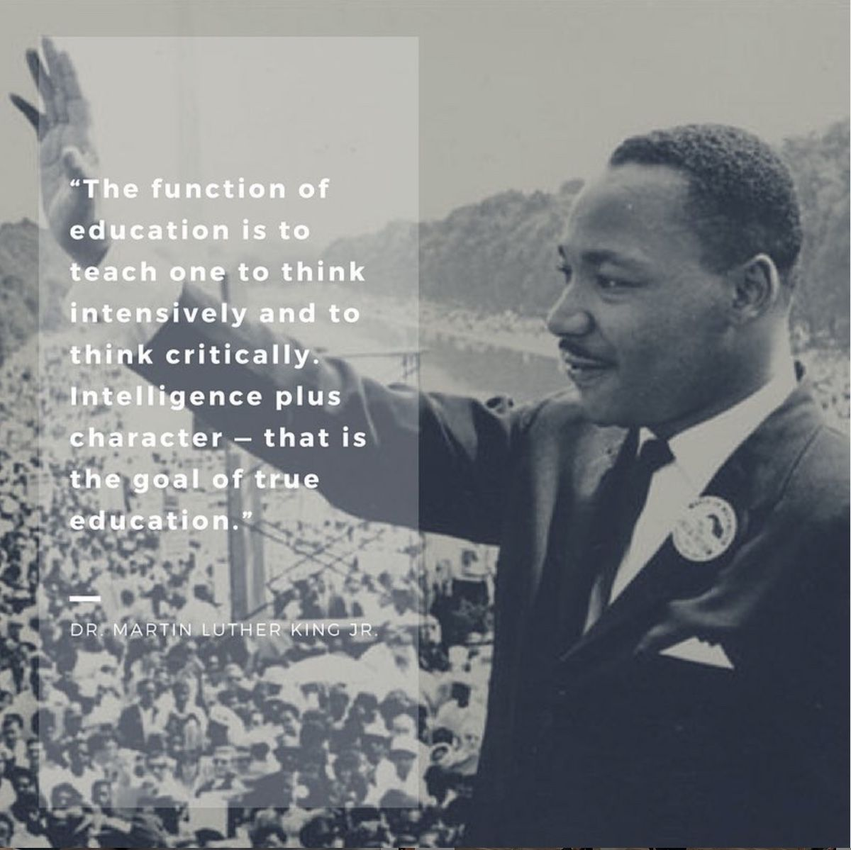 When you stand on the right side of history, your words are truly timeless. Dr. Martin Luther King, Jr. spoke these words in 1947, and even as education has evolved, they still ring true. #MLKday #martinlutherking #education