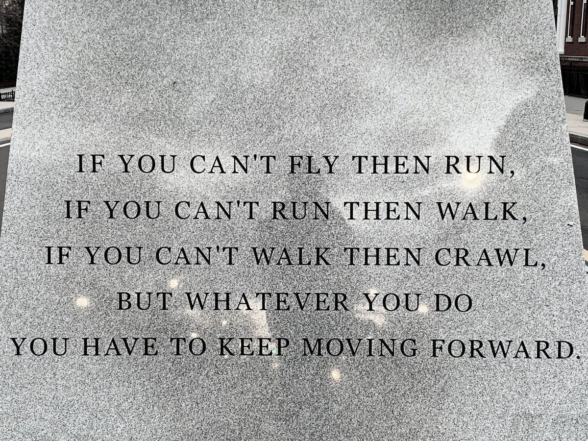 """I'll leave you with the quote on the back of this statue from a Dr. King speech from 1960:  """"If you can't fly then run, if you can't run then walk, if you can't walk then crawl, but whatever you do you have to keep moving forward."""" #mlk #MLKDay #MLKDay2021"""