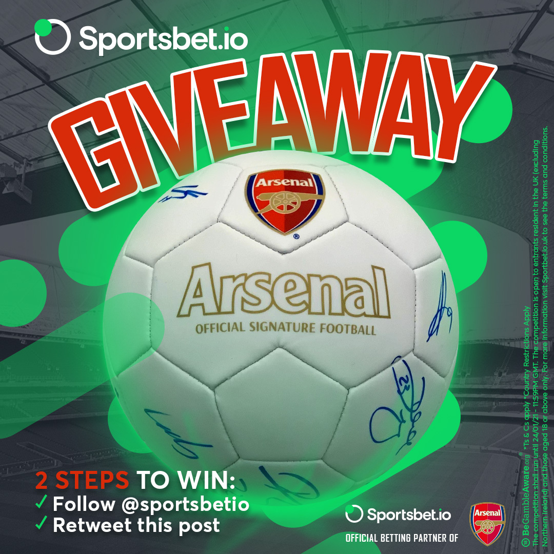 🚨 Signed ball giveaway! 🙌   🤝 Follow @sportsbetio  🔁 Retweet this post  💡 Winner chosen at random   📃 Terms and conditions apply 👉