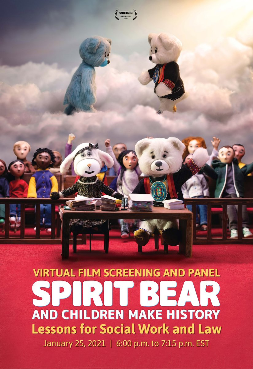 Jan 25, 18h, EST: screening of Spirit Bear and Children Make History + panel. mcgill.ca/x/oqA Presented by the McGill Joint MSW/Law Program, #Indigenous Access McGill, @SpiritBear & @CaringSociety @McGillCHRLP @cblackst #JordansPrinciple