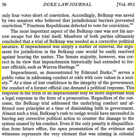 @Joe_Montoya_312 @JonathanTurley In 1999 Turley published Law Journal article saying the Constitution grants impeachment trial after someone already left office: Warren Hastings    Meaning: @JonathanTurley knows his tweets are Iies.   Turley has no credibility, no ethics, and is not professional.  ⬇️1999: Turley https://t.co/rMg5rsq08w