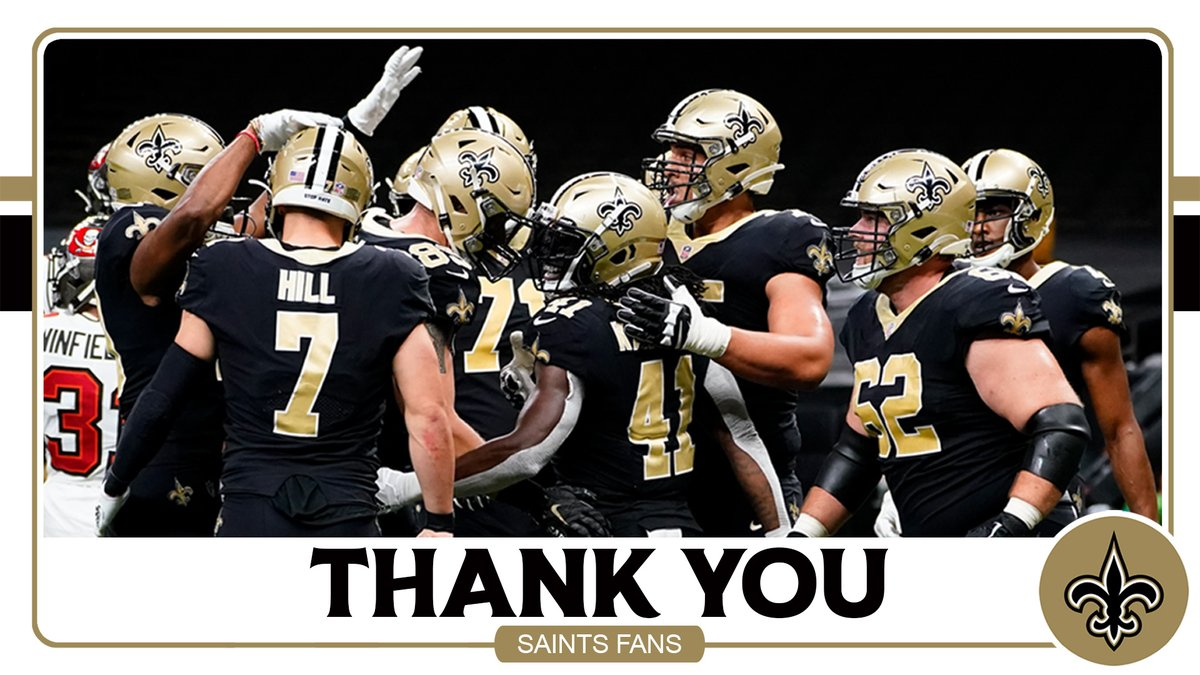 Not the ending we all wanted, but your passion for this team never wavered.   During the craziest NFL season ever, we felt your support far and away.   We missed you at the Dome and on the road, but your loyalty and love motivated us every day.   Thank you #Saints fans ⚜️