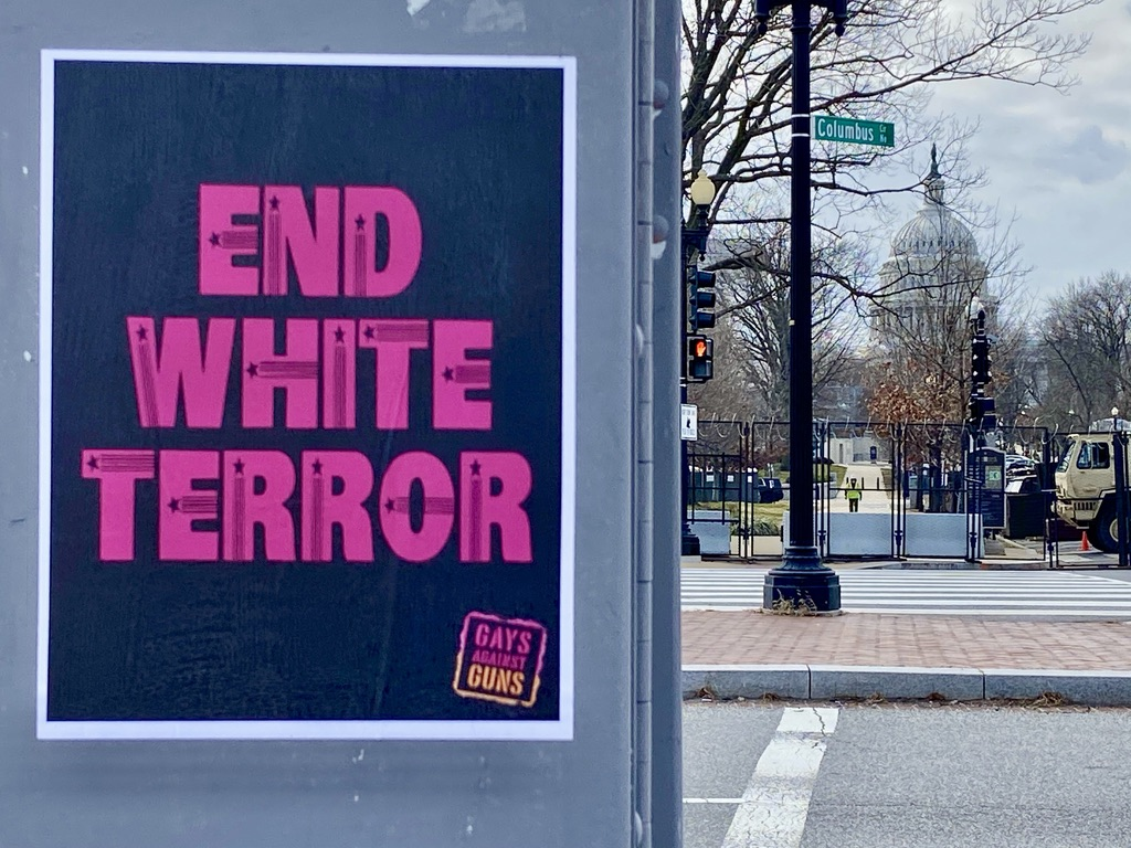 A few peaceful protesters on the right side of history are putting up some messages around the #Capitol today. #MondayMotivation  I have a dream. White supremacy is not patriotism! #DomesticTerrorists  #EndWhiteTerror