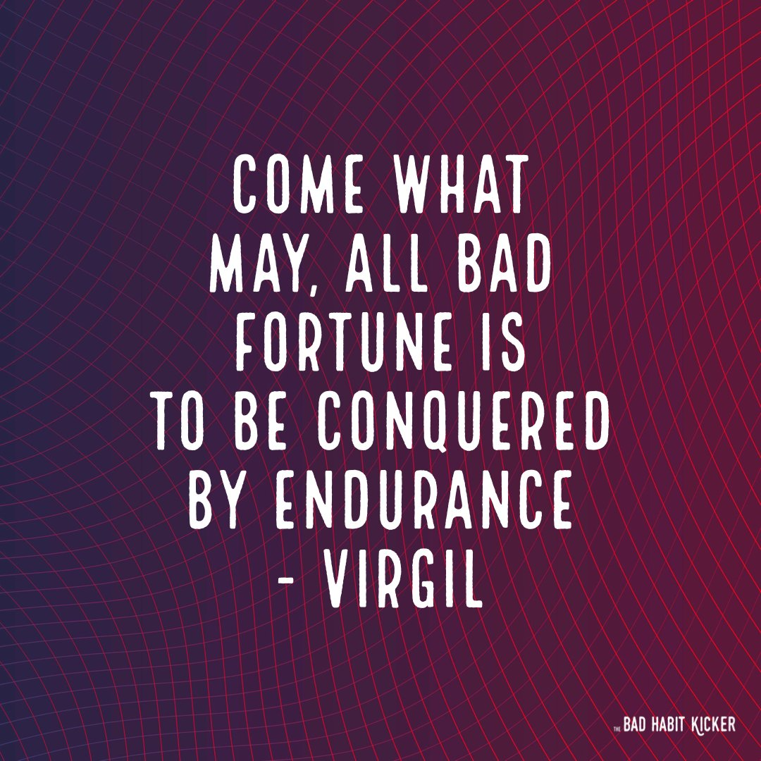 """Do you agree with this? """"Come what may, all bad fortune is to be conquered by endurance"""" - Virgil #SelfHelpBooks #BadHabits #MentalHealth #ImproveYourLife #SelfImprovement #TheBadHabitKicker #BreneBrown #TheMiracleMorning #MarieForleo #TonyRobbins #5SecondRule #AtomicHabits"""