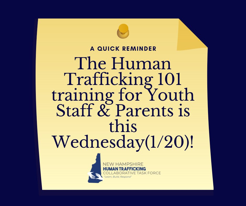 This free training session is happening this week! Register at this link:  #HumanTrafficking #EndTrafficking #FreedomFirst #NewHampshire
