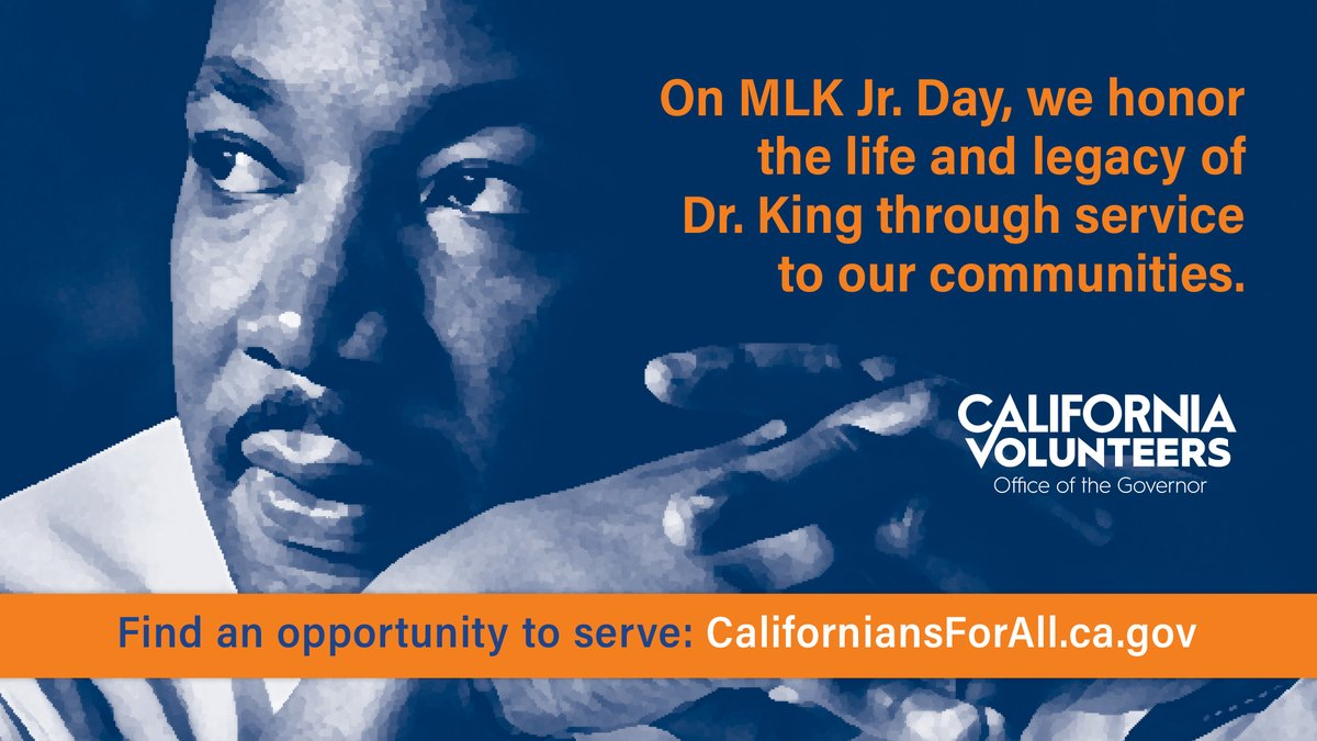 On the #MLKDay we celebrate and honor a civil rights leader who manifested some of America's best values in his work and life.  Today, a National Day of Service, we encourage all Californians to do good for their community - whether at a service project or in their neighborhood.