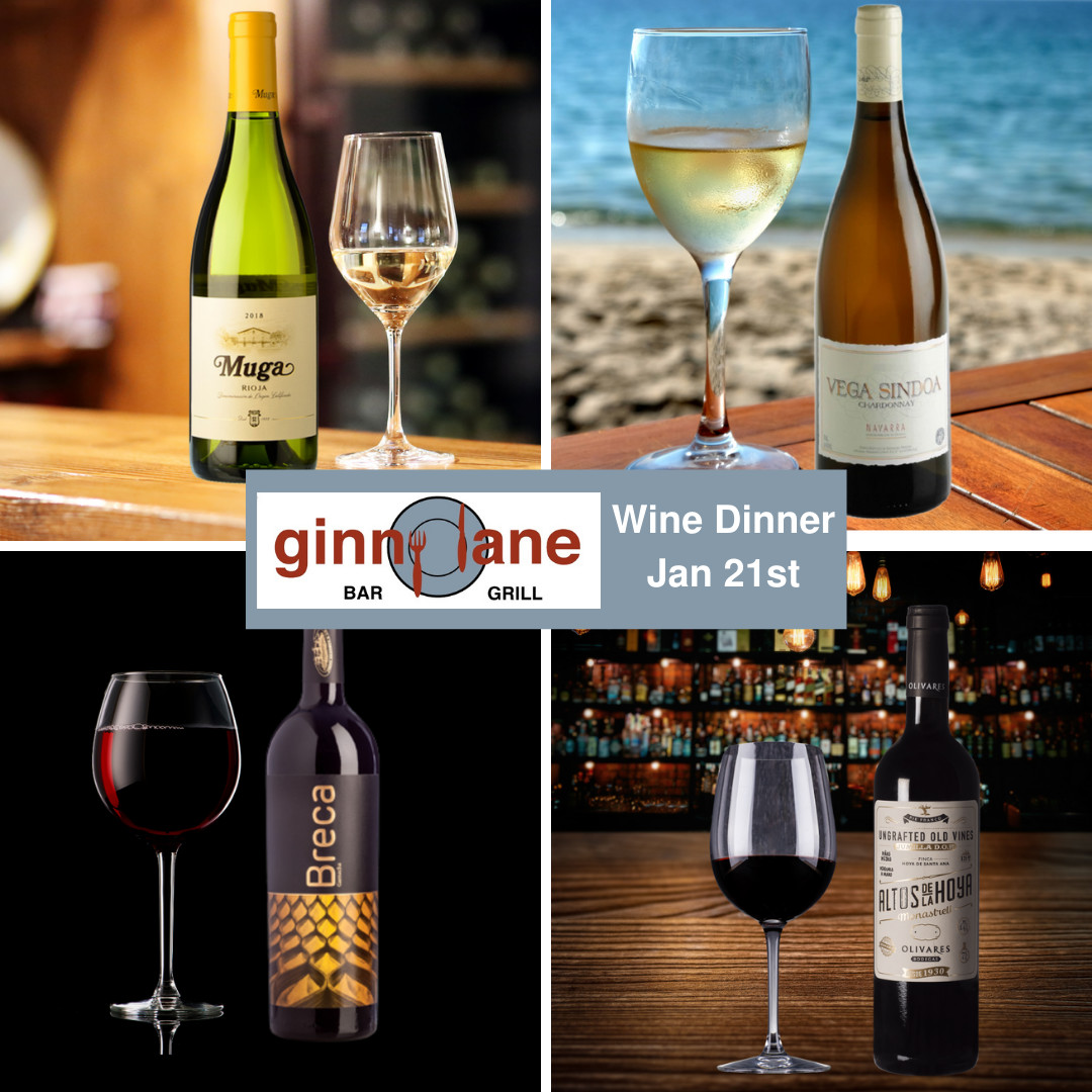 This Thursday is our #JanuaryWineDinner 🍽🍷  Join us for 4️⃣ Delicious Courses 🍽 & 4️⃣ Fabulous Wine Pairings 🍷for $40 per person!  📞Call 251-224-6500 for Reservations  #GinnyLaneBarGrill #Wharf #OrangeBeach #Thursday #WineNot #WineDinner #Joinus