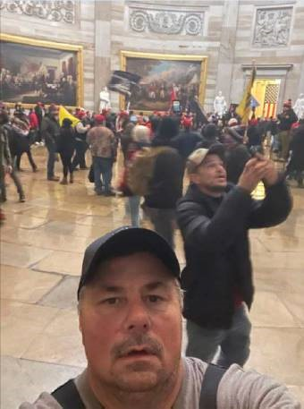 """Thomas Fee of Freeport, New York allegedly texted a witness saying he was at the """"tip of the spear"""" inside the Capitol during the siege.  He has been arrested and charged."""