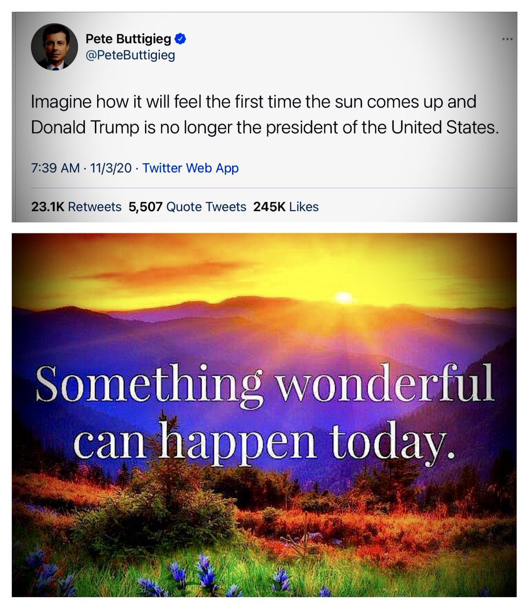 """@MaryLTrump ✨""""Imagine how it will feel the first time the sun 🌞 comes up and🖕🏻#DonaldTrump 🤡🦠🇷🇺 is no longer the president of the United States.""""✨ 🇺🇸😎👍🏻 ~ 👏🏻💞@PeteButtigieg🌞🙋🏻♂️🇺🇸"""