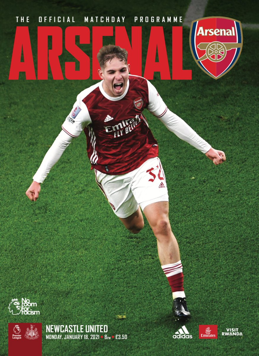 🚨 Tonight's #ARSNEW programme 🚨  𝙁𝙍𝙀𝙀 Digital version here   📕 Order a collectible print version here   🔴⚪️ Featuring @Aubameyang7 @m8arteta  @RobHolding95 @emilesmithrowe  Nicolas Pepe & Mauro Bandeira