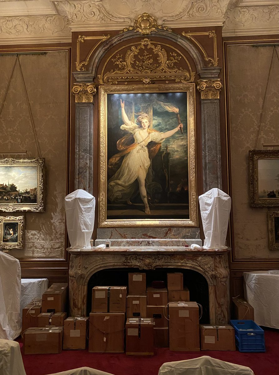 Sir Joshua #Reynolds' luminous portrait of Emily Warren as Thais presides over the put-to-bed Morning Room @WaddesdonManor and a fireplace full of stored #Sèvres porcelain in original 19C cases. Roll on reopening - whenever that may be #behindthescenes #18thCentury