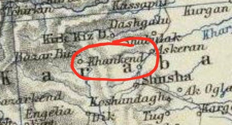 This map was made in 1861 by the Scottish geographer Alexander C. Johnson. It is clearly visible, that there was written #Khankendi, not #Stepanakert. https://t.co/mrJRxw482R