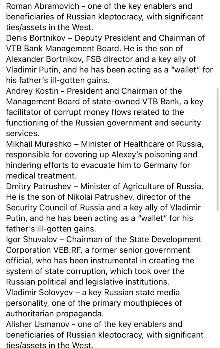 """.@navalny aide, @vashurkov posts on FB: """"Days before Alexey boarded his flight to Moscow, we agreed on a list of people he felt should be sanctioned if the west wanted to get serious about encouraging Russia to cease attacking human rights and reign in corruption."""" Top 8 below:"""