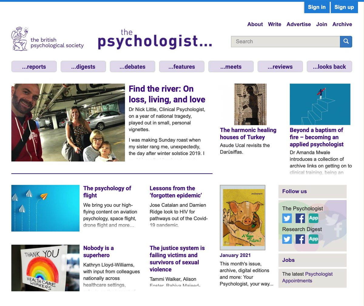 Lots of fascinating new stuff at thepsychologist.bps.org.uk …much more to come over the next few days!