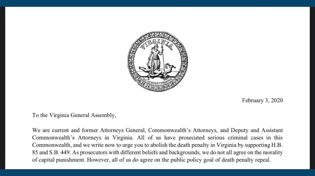 In 2020, a letter drafted by Justice Forward & @VADP demanding repeal of the death penalty was signed by TWENTY-ONE PROSECUTORS, incl. two former VA ATTORNEYS GENERAL. This year a similar effort by VPPJ garnered even MORE support. #AbolishTheDeathPenalty