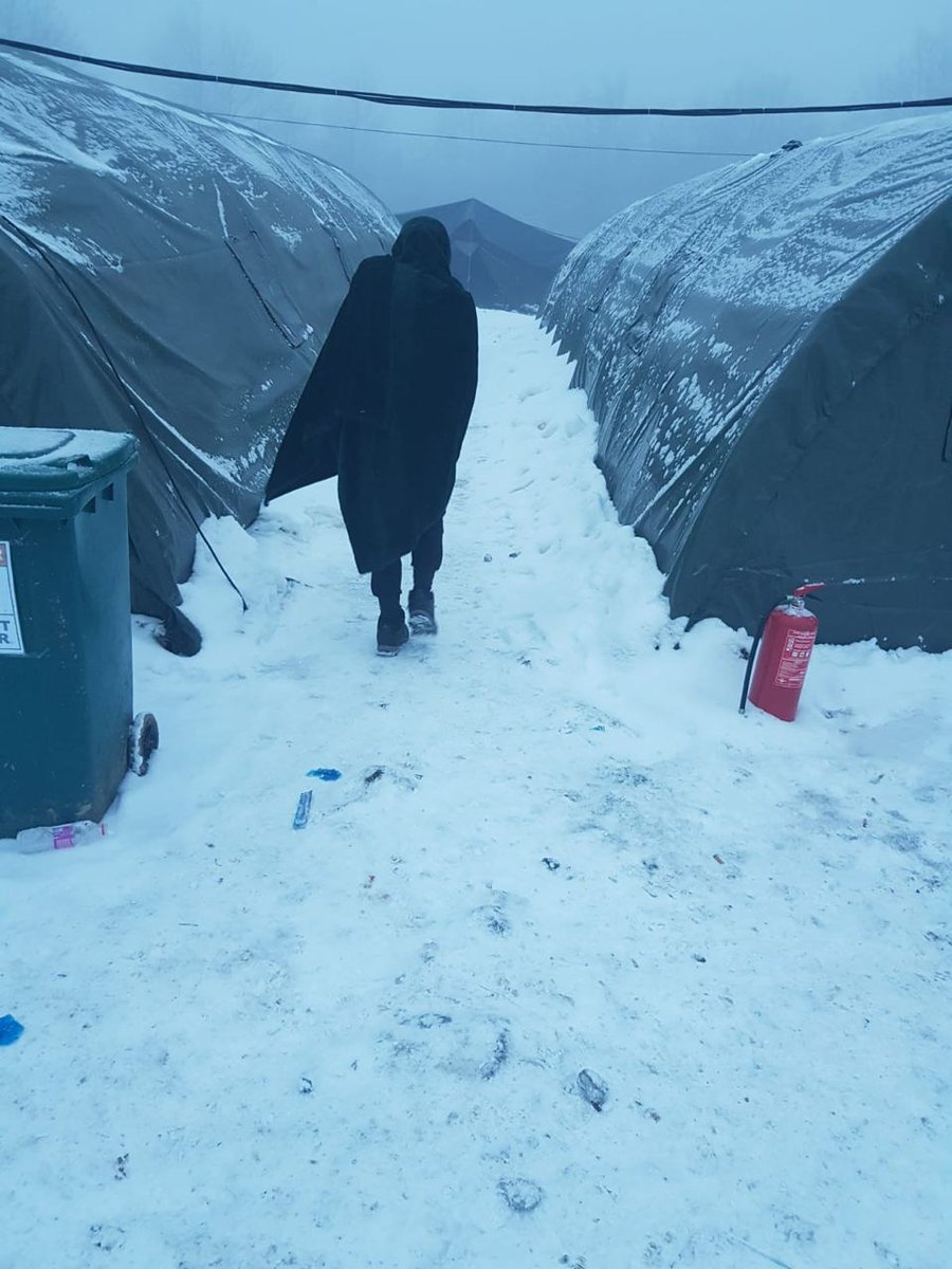 Picture from a person who lives in #Lipa   Lack of water, very cold temperatures, lack of electricity in many tents, no medical care. No Human rights and no dignity.  Just few km away from EU border.  And with NO POLITICAL DECISION FROM BRUSSELS THAT COULD FINISH THIS SUFFERING