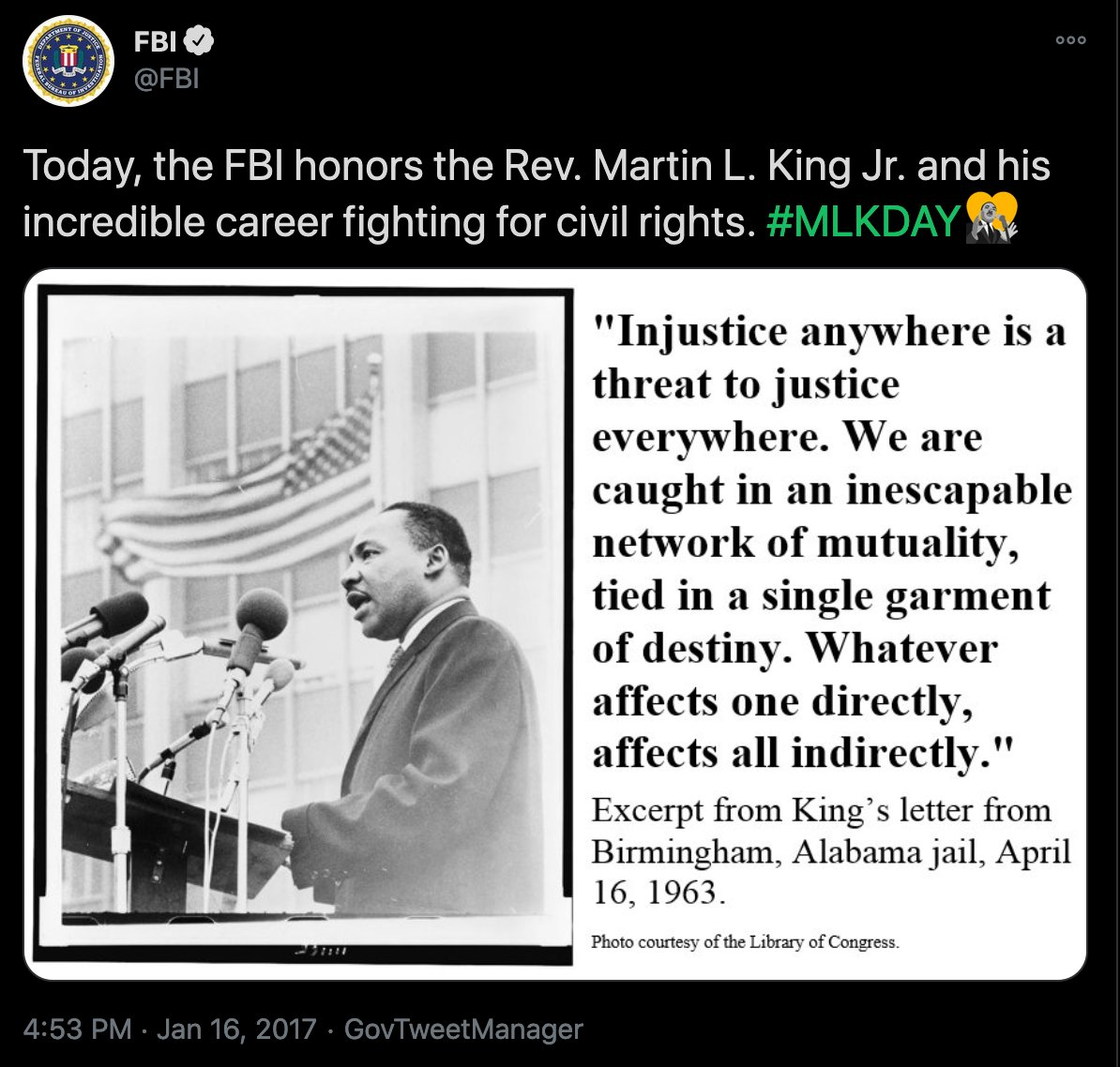 It's January 18, so prepare yourself for all the FBI/surveilance industry tweets about how they stand with Martin Luther King. 😂  #MLKDay #MLK #MLKDay2021