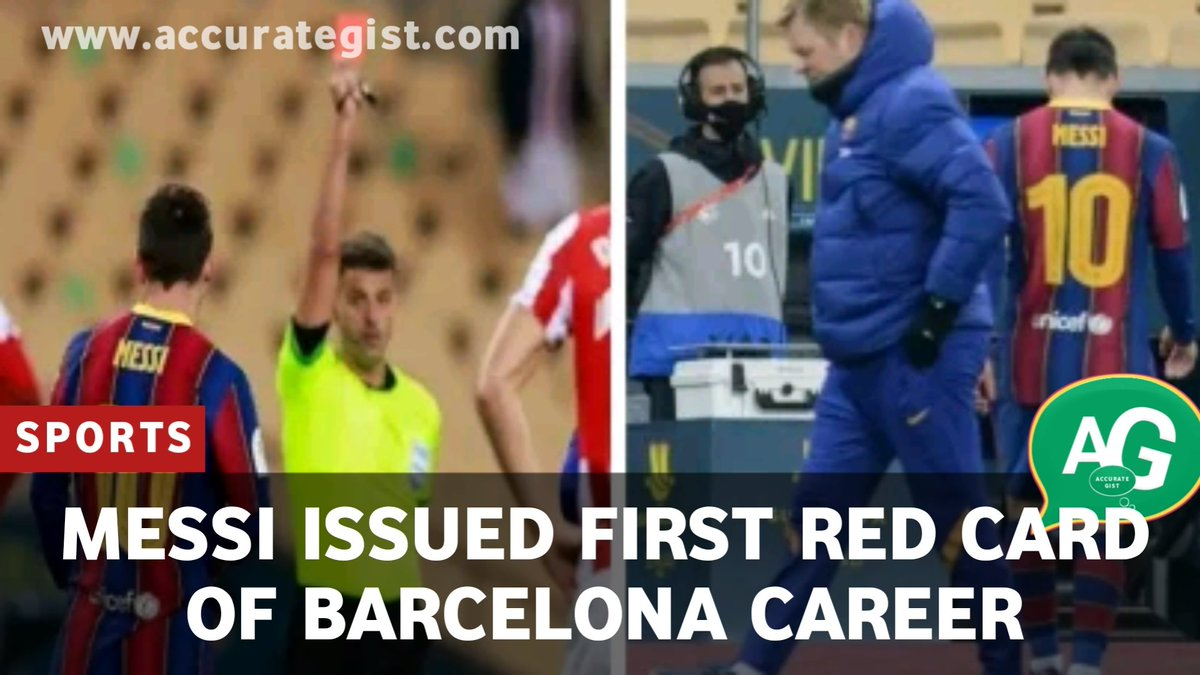 LIONEL MESSI ISSUED FIRST RED CARD IN BARCELONA.  Sixth time Balon D'or winner, Lionel Messi was issued his first red card of his footballing career as....  Read More;   #Messi #MLKDay #MondayMorning #Lagos  #Kaduna
