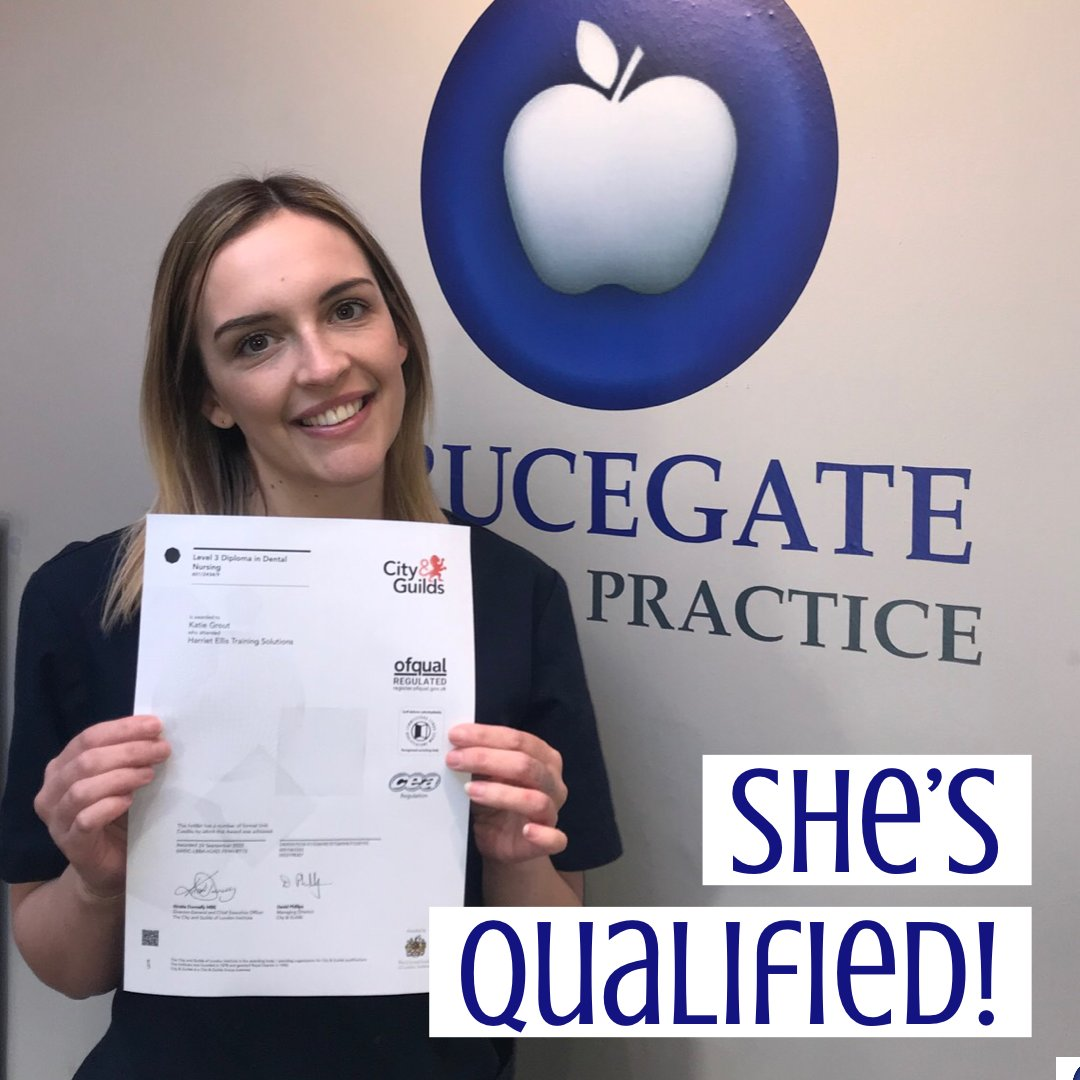🤩 Massive congratulations to Katie who recently passed her Dental Nursing Diploma! 👏🏼 Well Done 🍾 . . . #DentalNurse #Dentist #BerwickuponTweed #Berwick #Qualified #WellDone #Monday #MondayMotivation #Happy #Smile #NoMoreExams
