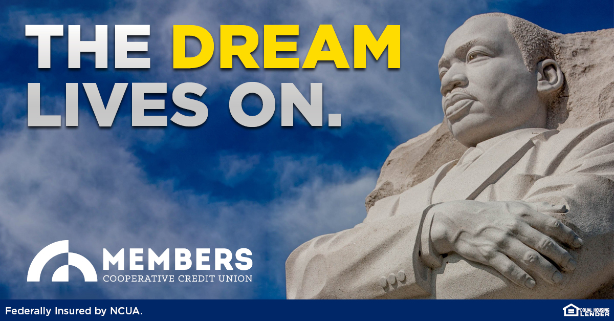 In honor of Martin Luther King, Jr.'s legacy, all MCCU offices are closed today. Our ATMs, mobile services, and online banking are available 24/7. #MembersCCU #CreditUnion #MartinLutherKingJrDay #ihaveadream