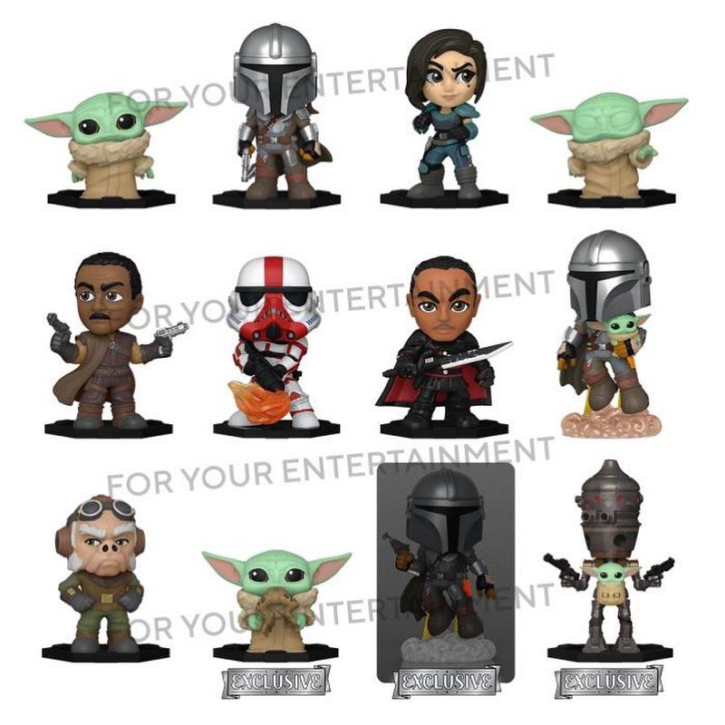 The Mandalorian Mystery Minis that leaked yesterday, it appears there is also an exclusive set containing a glow Mandalorian, The Child w/ frog, and IG-11 w/ The Child. . Good catch @anerdydad! . #TheMandalorian #TheChild #Funko #FunkoFair #FunkoFinderz
