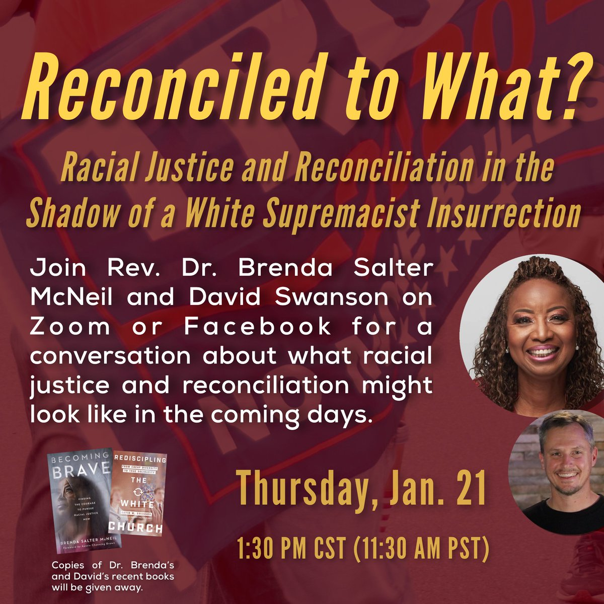 Join Rev. Dr. @RevDocBrenda and me on Thursday for a conversation about justice, reconciliation, and the days ahead.   Register for the Zoom webinar () or join us at .