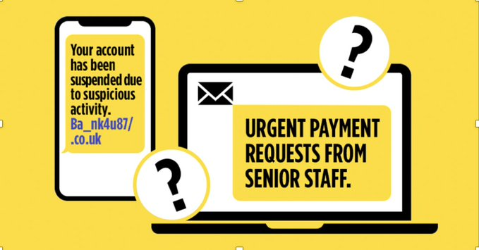 "#TuesdayThoughts  Watch out for texts, emails, or phone calls from a Senior Staff member asking for an urgent change in payment details!  The scammers rely on ""their"" rank, time pressures (including the end of the day) to force you into rushing an action   STOP - #TakeFive"