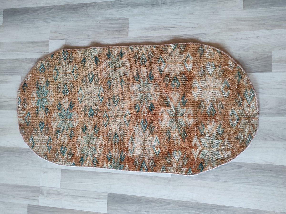 "Excited to share the latest addition to my #etsy shop: Turkish pink bath mat rug, outdoor vintage oushak rug small, door mat rug,bedroom rug 2'1''x4'0""  #pink #housewarming #brown #valentinesday #2x4turkishrug #doormatrug #2x4homerug #bedroomrug"