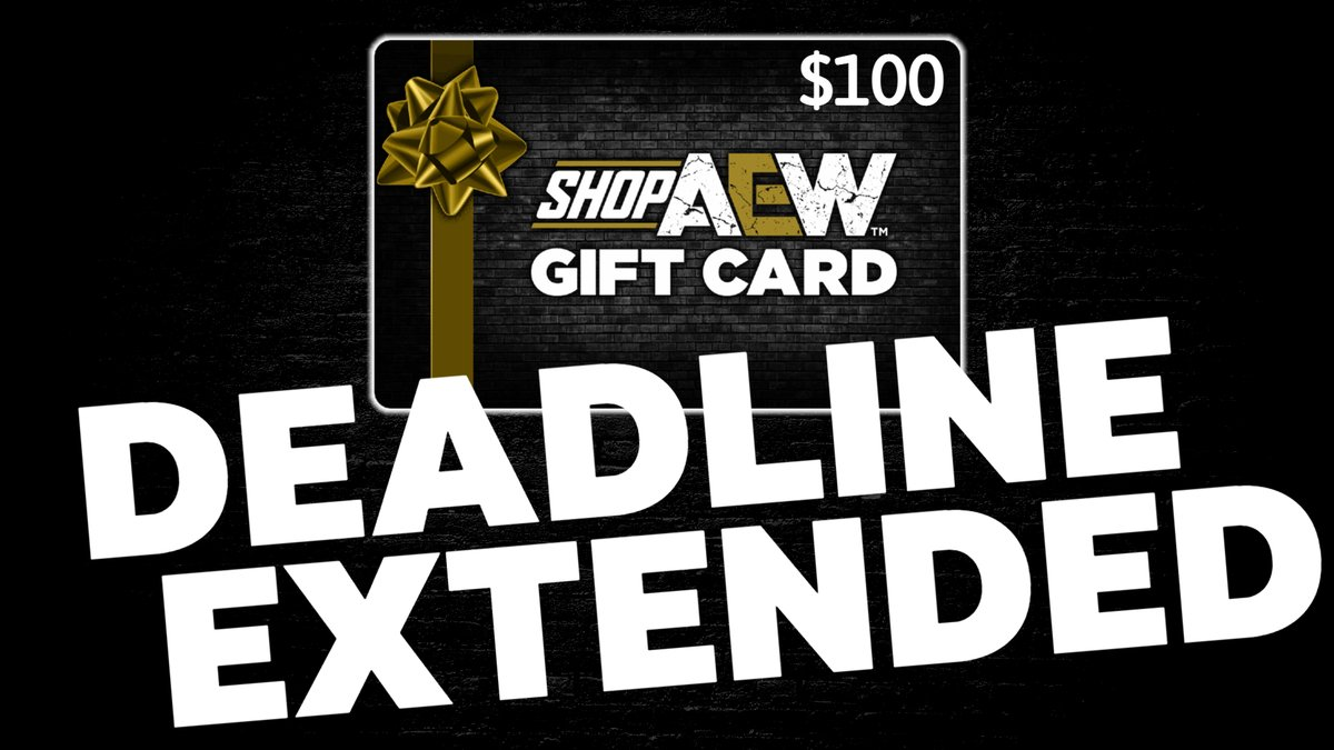 🚨DEADLINE EXTENDED🚨  The deadline for entering the contest for the $100 Gift Card to #ShopAEW. 12:00pm/EST! Watch the latest podcast on YouTube and look out for the Catchphrase then Tweet it with #AEP #AllElitePodcast. LIVE DRAW at 4pm/EST on YouTube.