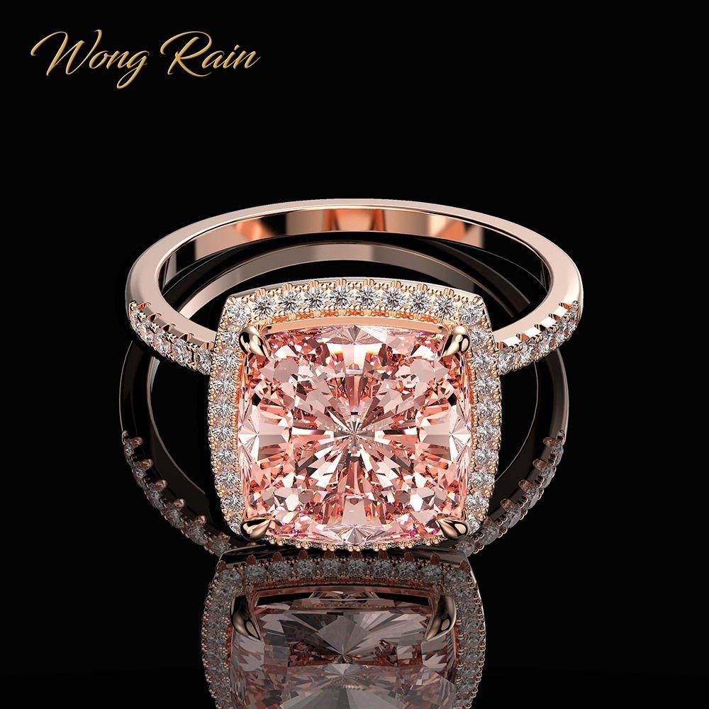 Wong Rain Luxury 100% 925 Sterling Silver Created Moissanite Morganite Gemstone Wedding Engagement Ring Fine Jewelry Wholesale #styles #pink