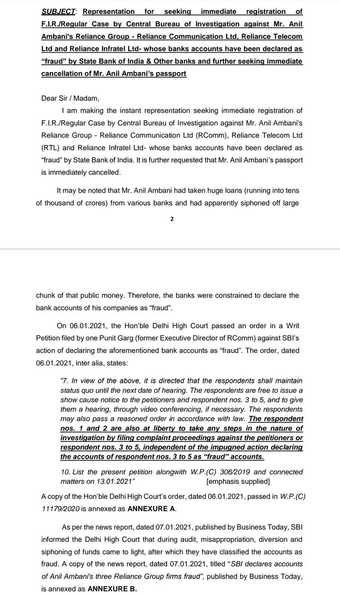 My complaint to various public authorities to register an FIR & prosecute Anil Ambani & his 3 companies which have been found by the SBI to have siphoned out ~50,000 Crs of public money loaned to them. My info is that there are orders from the top to be soft on them