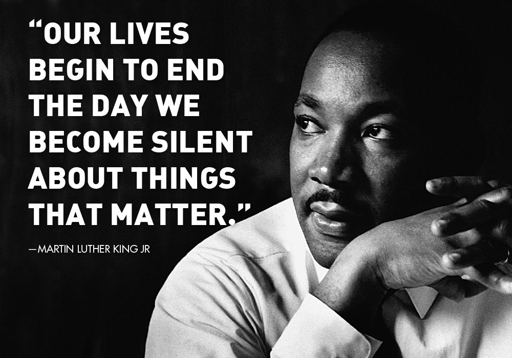 "Today we honor the great Dr. Martin Luther King, Jr.  Let his legacy be a reminder to stand up for justice, equality, and peace.  In his own words: ""Life's most persistent + urgent question is 'what are you doing for others?'"" #MLKDay #servantleadership #IHaveADream"