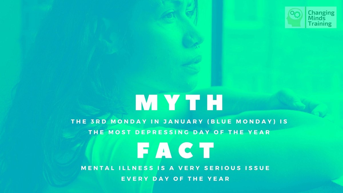 Myth: #BlueMonday is said to be the most depressing day of the year 🔵  Fact: This was a PR stunt created by a travel company. Depression doesn't care what day or month it is 💙
