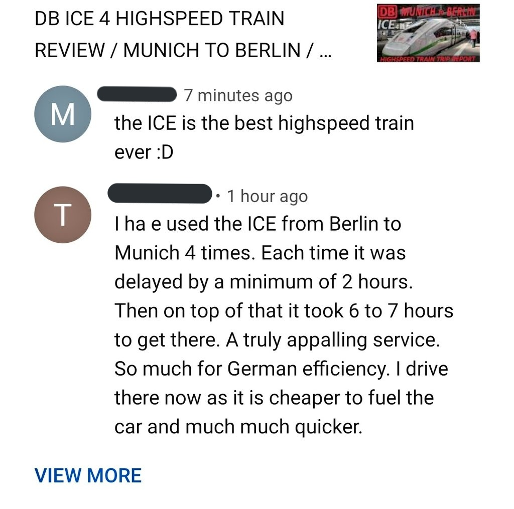 2 comments, less than an hour apart, about the same train 🤣 #DB #Deutschebahn #ICE #ICE4 #nonstopeurotrip