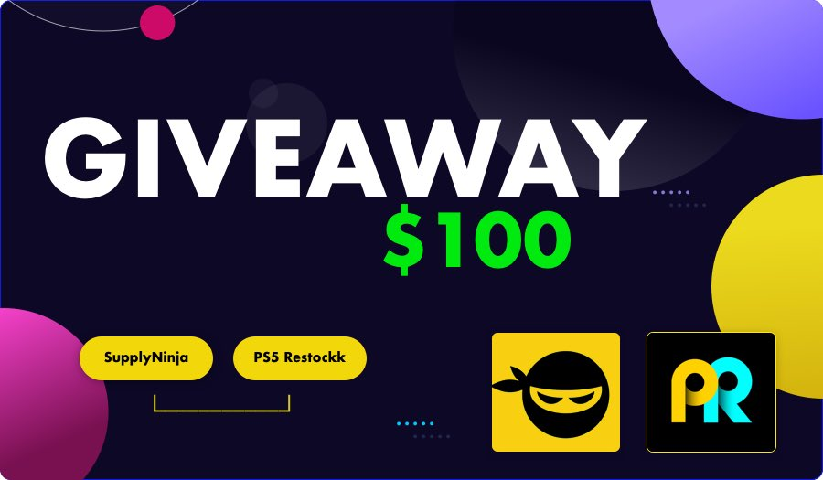 [🚨GIVEAWAY] You all have been so great to me. Time for me to give back!  Prize 💵 $100 Giftcard (PS or Xbox, your choice!)   How To Enter:  ✅ Follow @SupplyNinja @PS5_restockk  ✅ LIKE + RETWEET this tweet  Winner will be announced this Friday 1/22 at 3PM EST!  🥳 Good Luck! 🥳