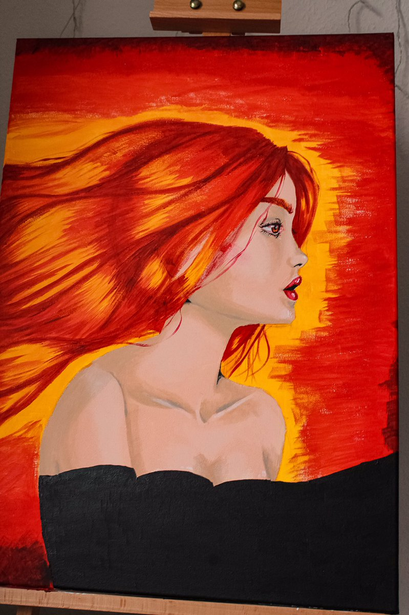 Selfmade decoration for my livingroom Part 1 #traditionalart #art #girl #red #orange #yellow #paint #fire #acrylicpainting