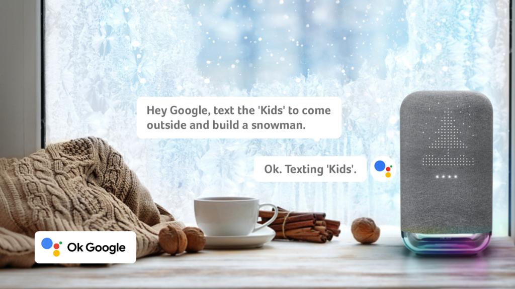 """""""With a single voice command, I can gather my loved ones to create a winter wonderland together."""" Meet #GoogleAssistant on the #Halo Smart Speaker, the helping hand you've been looking for: https://t.co/EDCPmKut8W https://t.co/NeH4gFzVXc"""
