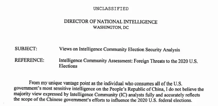 NEW - Director of National Intelligence (DNI) John Ratcliffe claims that China interfered in the 2020 election and that information was suppressed by the CIA management.