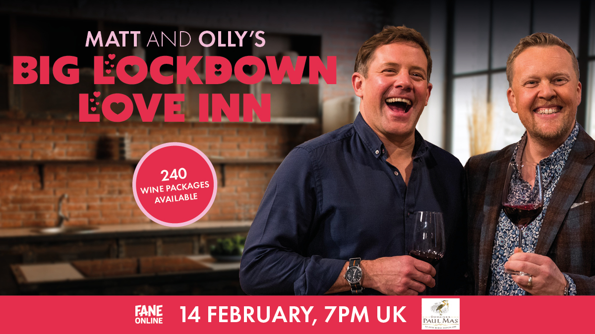 .@matt_tebbutt and @jollyolly are YOUR dates this Valentine's! Your Saturday Kitchen favourites are streaming live, with cracking cooking and special guests at their Lockdown Love Inn 💖 Order our special wine package before 1 February: