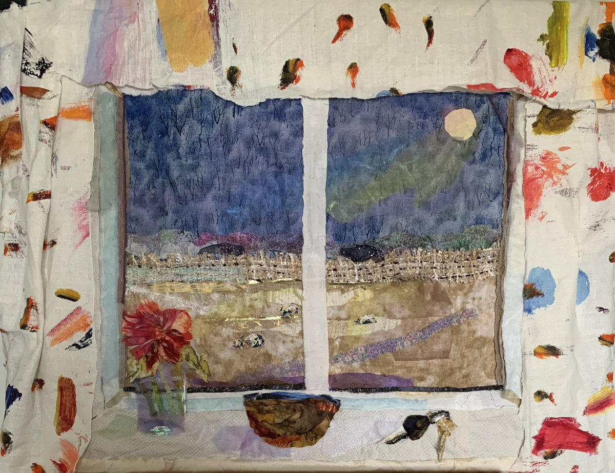 Lots of #progress on the #trompeleoil #window #view. Realised I couldn't add a real shelf so have stitched a #windowledge complete with #flowers, a #wooden #bowl and #keys. #textiles #collage #workinprogress #landscape #throughthewindow